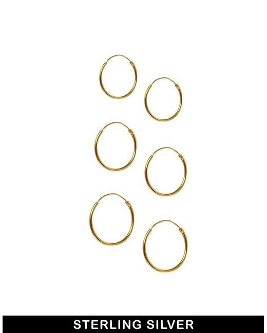 ASOS | Metallic Pack Of 3 Gold Plated Sterling Silver Hoop Earrings | Lyst