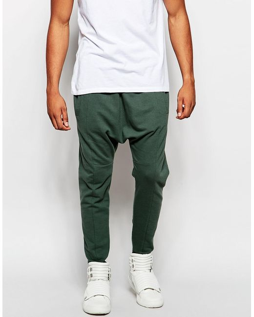 Unique Asos Drop Crotch Joggers In Green For Men (Thyme) - Save 49% | Lyst