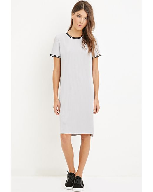 Forever 21 | Gray Striped-trim Dress | Lyst
