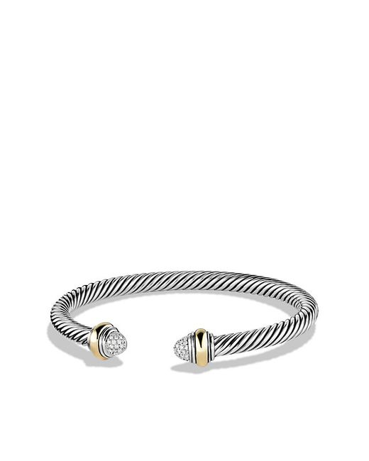 David Yurman | Metallic Cable Classics Bracelet With Diamonds And 14k Gold, 5mm | Lyst