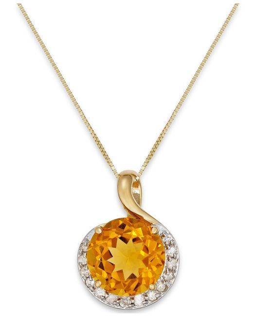 Macy's | Metallic Citrine (3-1/2 Ct. T.w.) And Diamond (1/6 Ct. T.w.) Pendant Necklace In 14k Gold | Lyst