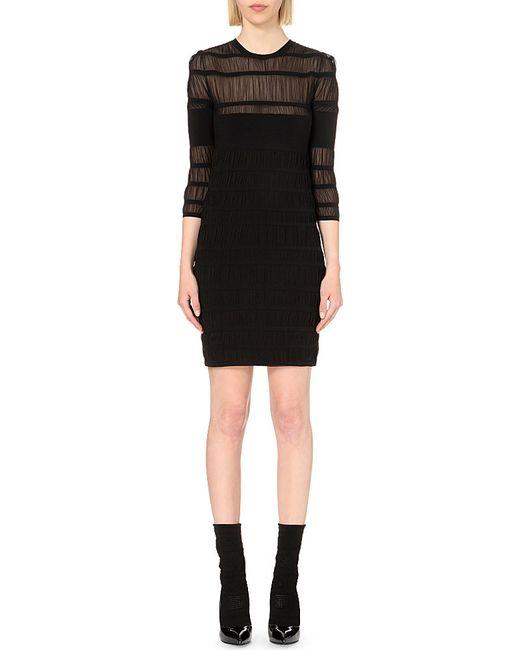 Alexander McQueen | Black Sheer-detail Stretch-knit Dress | Lyst