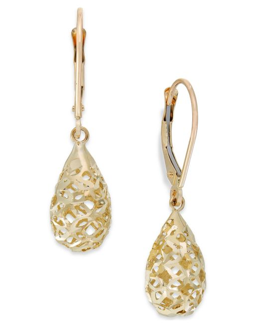 Macy's | Metallic Filigree Leverback Drop Earrings In 10k Gold | Lyst