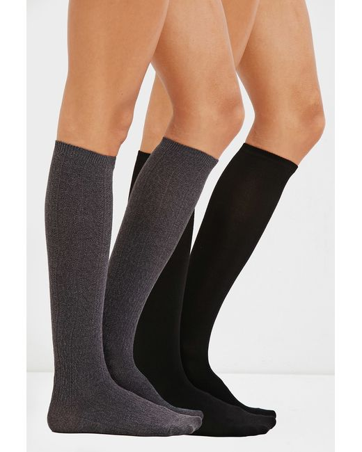 Forever 21 | Black Knee-high Socks - 2 Pack | Lyst