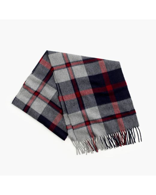 J.Crew | Gray Cashmere Scarf In Plaid for Men | Lyst