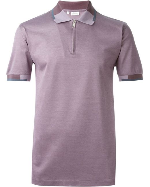 Brioni Panelled Collar Zip Polo Shirt In Purple For Men