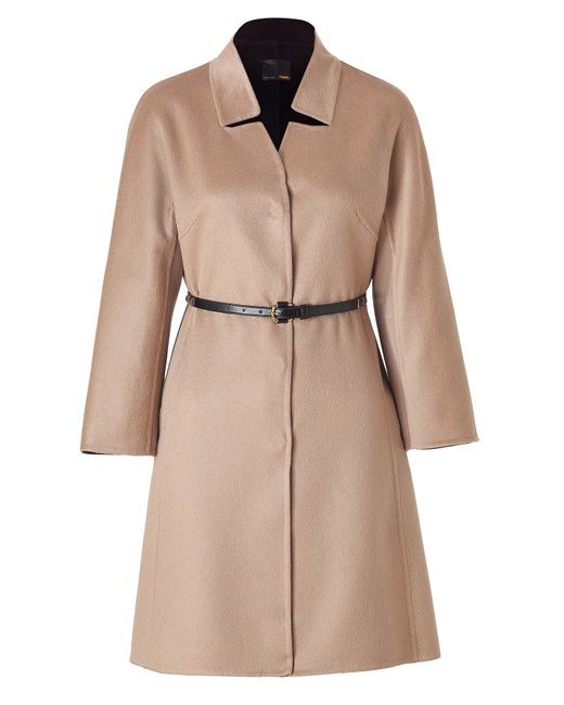 Fendi | Beige Camel Cashmere Coat With Studded Leather Belt | Lyst