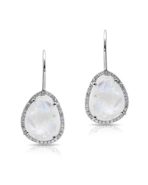 Anne Sisteron - Metallic 14kt White Gold Moonstone Diamond Organic Shape Earrings - Lyst