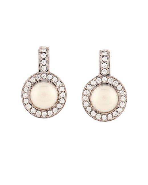 Balenciaga | White Faux Pearl And Crystal Earrings | Lyst