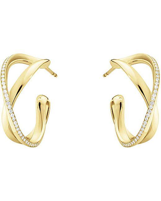 Georg Jensen   Infinity 18ct Yellow Gold And Diamond Hoop Earrings   Lyst