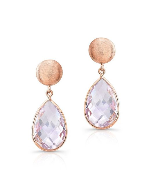 Anne Sisteron | Metallic 14kt Rose Gold Pink Amethyst Pear Drop Earrings | Lyst
