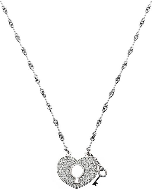 Qeelin | Metallic Yuyi White Gold and Pavé Diamond Lock Necklace | Lyst