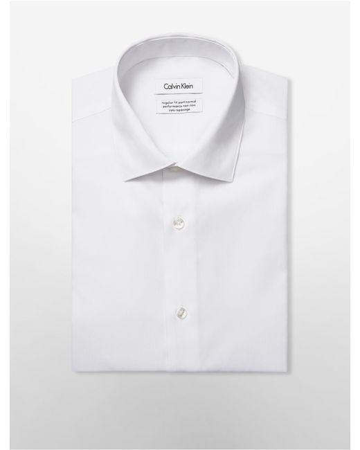 Calvin klein steel regular fit non iron herringbone dress for White herringbone dress shirt