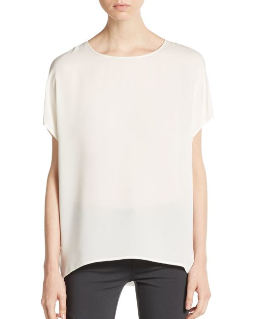 VINCE | White Mixed-media Silk & Linen Top | Lyst