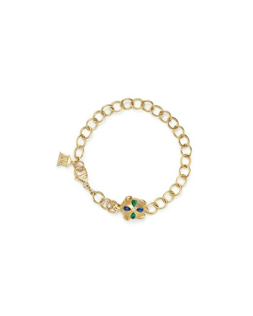 Temple St. Clair | Multicolor 18k Gold Turtle Oval Link Bracelet With Blue Sapphires, Emeralds And Diamonds | Lyst