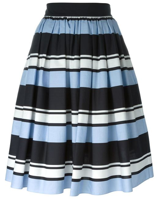dolce gabbana striped pleated skirt in black blue