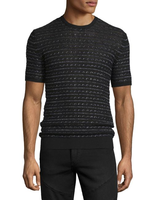 Costume National Short Sleeve Knit Sweater In Black For