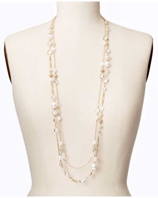 Ann Taylor | Metallic Modern Classic Double Strand Necklace | Lyst