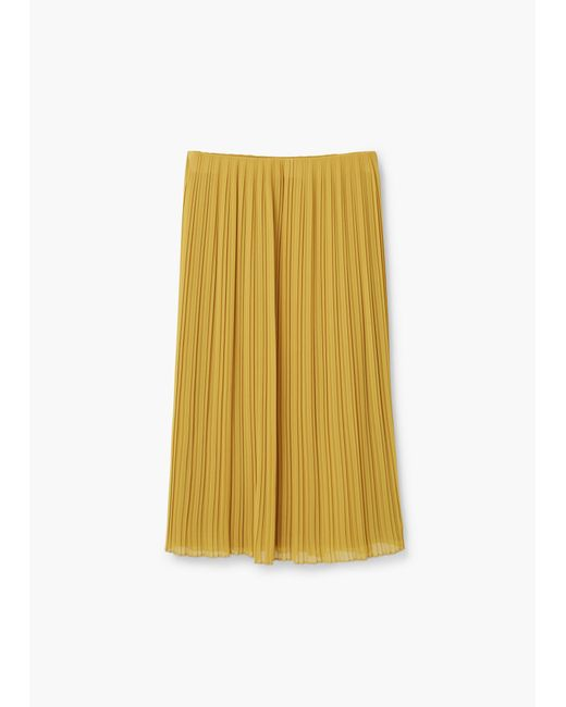 mango pleated midi skirt in yellow lime lyst