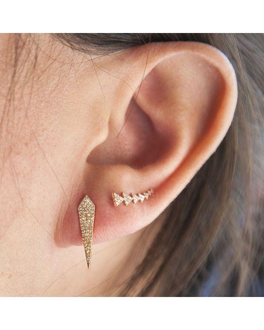 Anne Sisteron - Metallic 14kt Yellow Gold Diamond Mini Spear Earrings - Lyst
