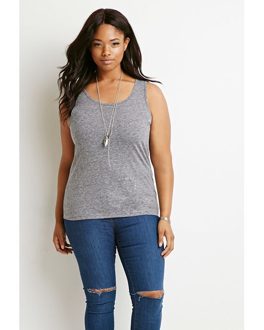 Forever 21 | Gray Plus Size Classic Heathered Tank | Lyst