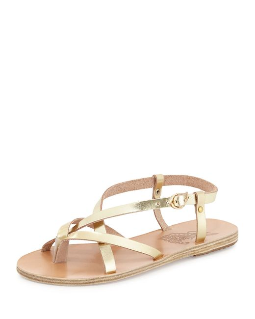 Ancient Greek Sandals Semele Strappy Flat Sandal In Gold