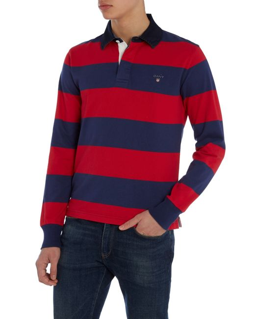 Gant Striped Long Sleeve Rugby Shirt In Blue For Men Red