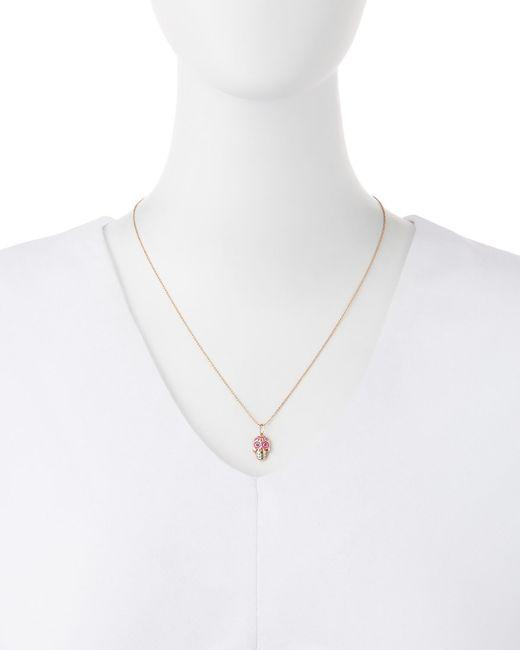 Sydney Evan | Pink 14k Rose Gold Skull Pendant Necklace | Lyst