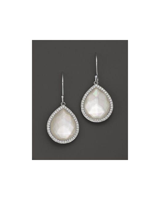 Ippolita   Metallic Sterling Silver Stella Earrings In Mother-of-pearl With Diamonds   Lyst