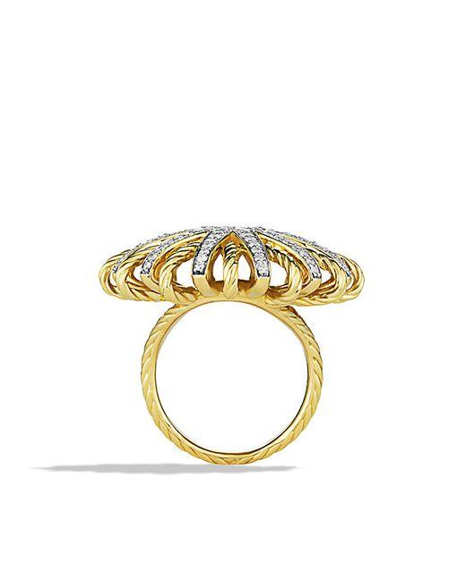 David Yurman | Metallic Starburst Ring With Diamonds In 18k Gold | Lyst