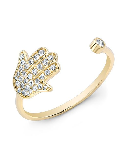 Anne Sisteron - Metallic 14kt Yellow Gold Diamond Hamsa Ring - Lyst