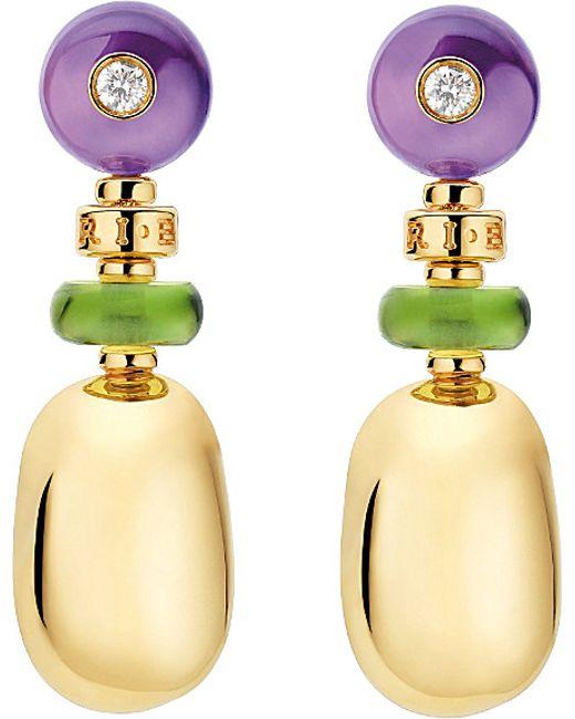 BVLGARI | Purple Sassi Mediterranean Eden Yellow-gold Earrings | Lyst