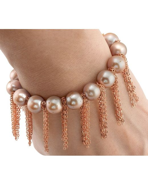 Anne Sisteron | Metallic Rose Pearl Bracelet With Rose Gold | Lyst