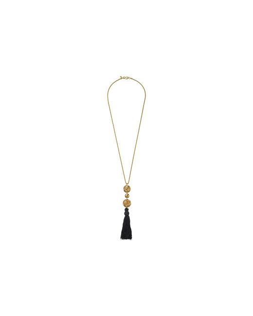 Kenneth Jay Lane | Metallic Gold Chain With Gold And Crystal Ball And Black Tassel Necklace | Lyst