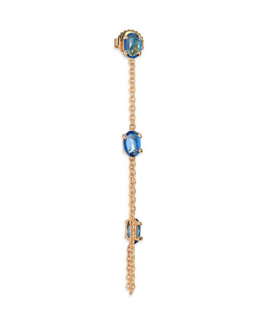 Jacquie Aiche | Multicolor Blue Topaz & 14k Yellow Gold Single Draped Chain Earring | Lyst