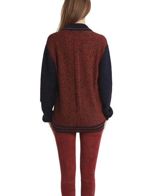 Monsieur lacenaire Knitted Varsity Jacket in Brown (rust) Lyst