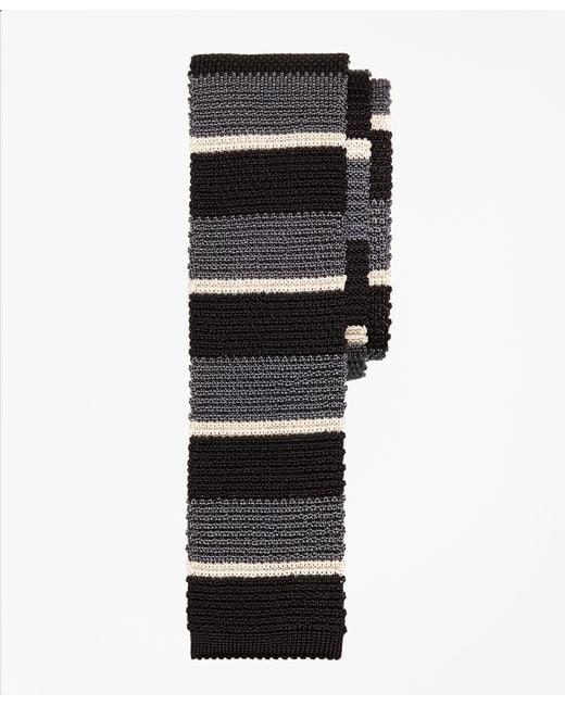 Brooks Brothers | Black Bold Stripe Knit Tie for Men | Lyst