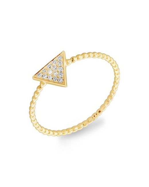 levy jewelry bony levy triangle pave ring in yellow yellow 3361
