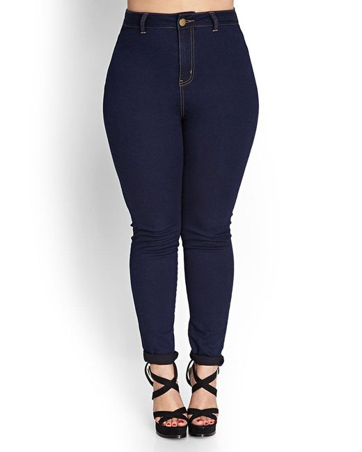 Forever 21 | Blue Plus Size High-waisted Skinny Jeans (regular) | Lyst