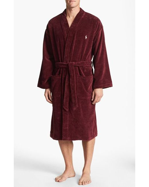 polo ralph lauren velour kimono robe in red for men classic wine lyst. Black Bedroom Furniture Sets. Home Design Ideas