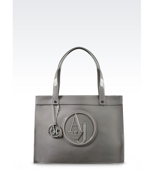 Armani Jeans | Brown Small Eco Patent Leather Shopping Bag With Charms | Lyst