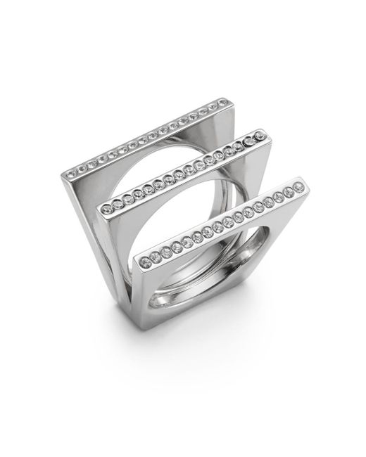 Vita Fede | Metallic Geo Crystal Pavà Triple Bar Ring/silvertone | Lyst