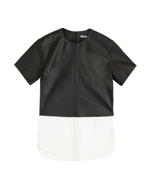 T By Alexander Wang | Leather Paneled Top - Black | Lyst