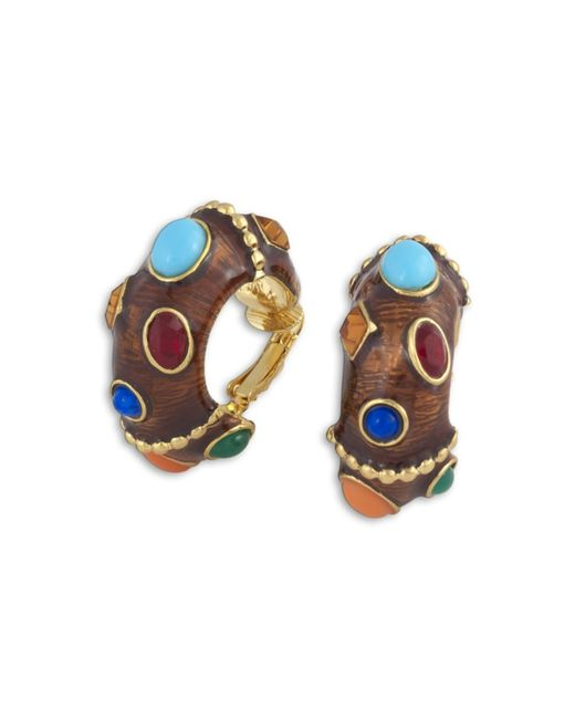 Kenneth Jay Lane | Brown & Multi-color Clip Earring | Lyst