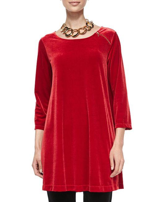 Joan Vass | Red 3/4-sleeve Velour Tunic W/ Zipper Detail | Lyst