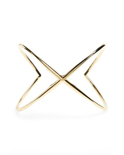 Elizabeth and James | Metallic 'windrose' Wide Crossover Cuff | Lyst
