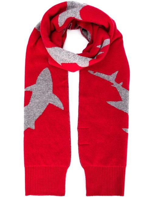 Christopher Raeburn   Red Shark Intarsia Scarf for Men   Lyst