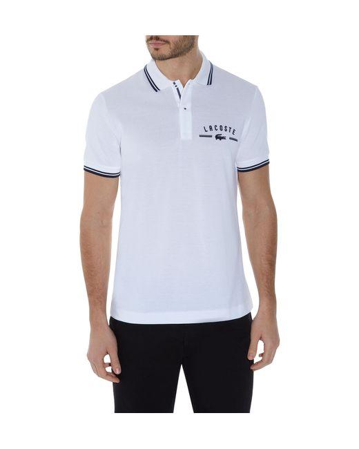 lacoste plain polo regular fit polo shirt in white for men. Black Bedroom Furniture Sets. Home Design Ideas