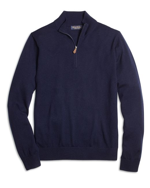 Brooks Brothers | Blue Saxxon Wool Half-zip Sweater for Men | Lyst