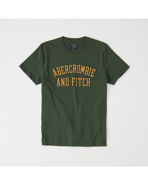 Abercrombie & Fitch - Green Applique Logo Tee for Men - Lyst